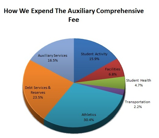 2012-2013 comprehensive fee expenditure pie chart.