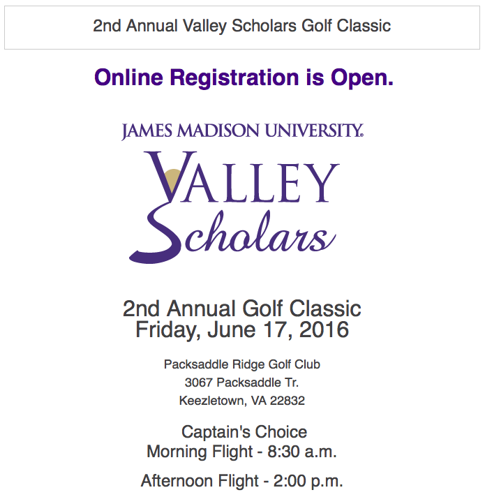 Valley Scholars golf tournament information: Friday, June 17 at 8:30 AM