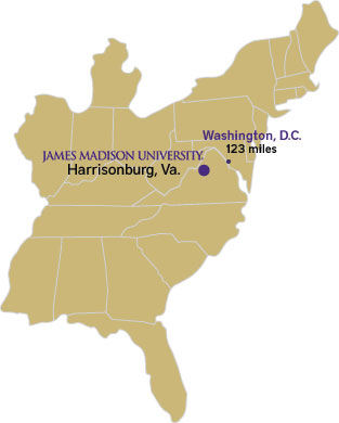Map of the East Coast showing JMU's location in Virginia, 123 miles from D.C.