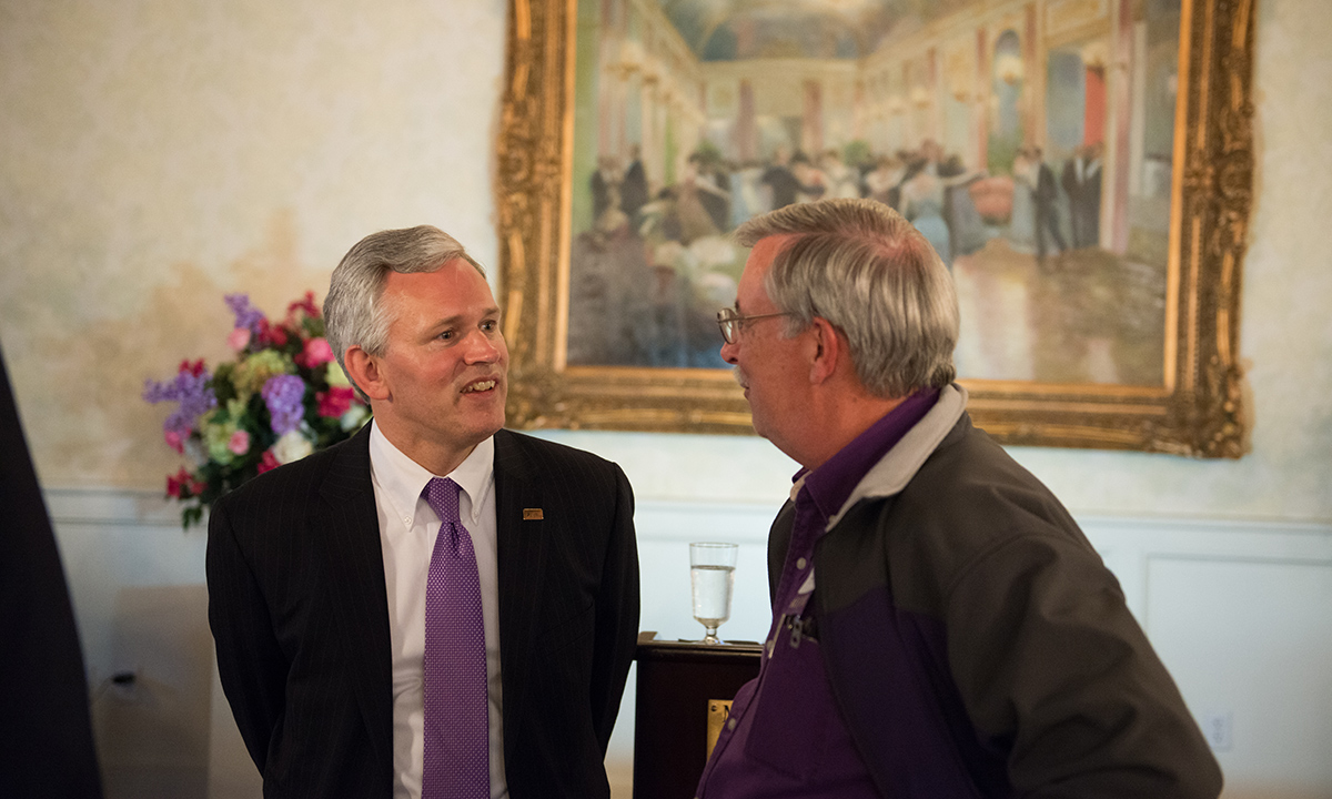 President Jon Alger, left,  Mike Jones '77