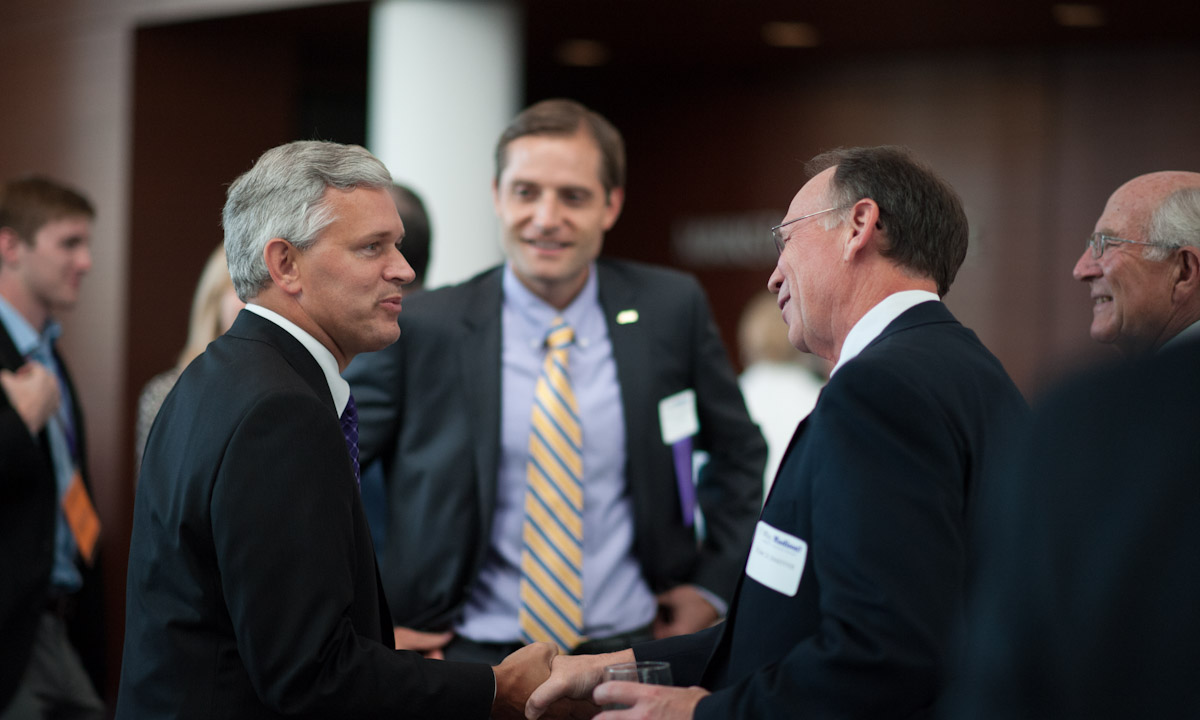 President Jonathan Alger, Advancement VP Nick Langridge ('00, '07M), the JMU Foundation's Tom Schaeffer