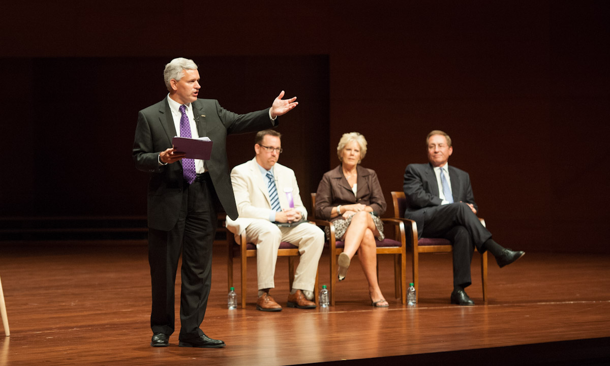 "President Jonathan Alger, J.R. Snow ('99, '08M), Donna Harper ('77, '86M) and Jim Sipe host ""Why Madison?"" at the Forbes Center."