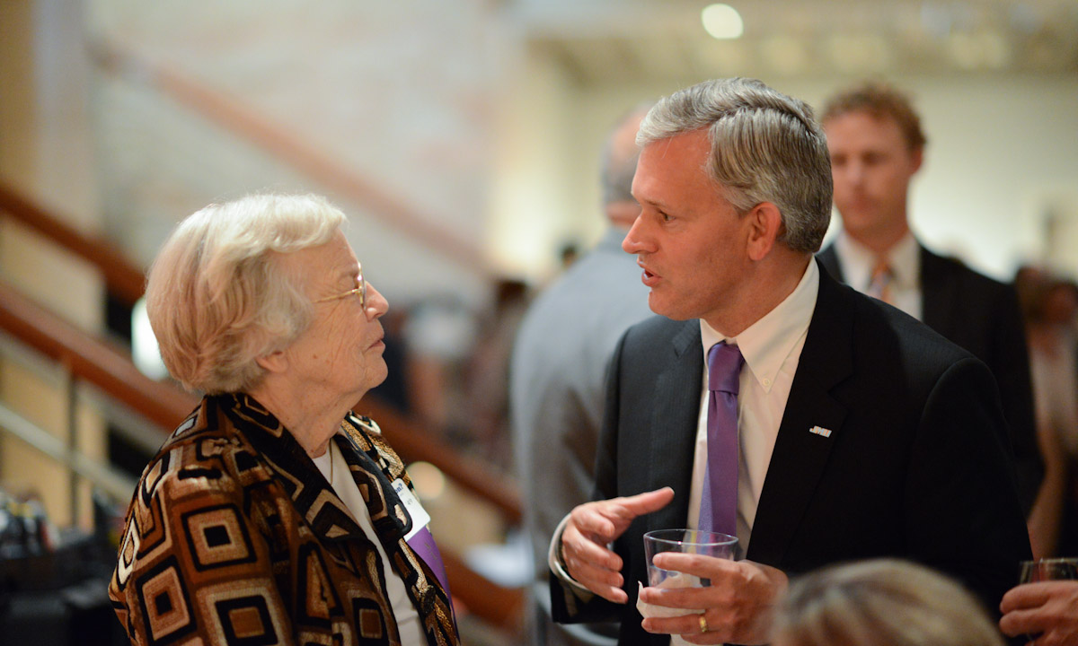 Barbara Pamplin Shell ('49) offers her greetings and input to President Alger