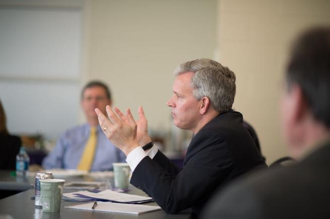 President Alger speaks with College of Education Executive Advisory Council members