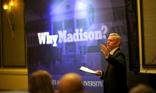 "President Alger speaking at ""Why Madison?"" in Reston"