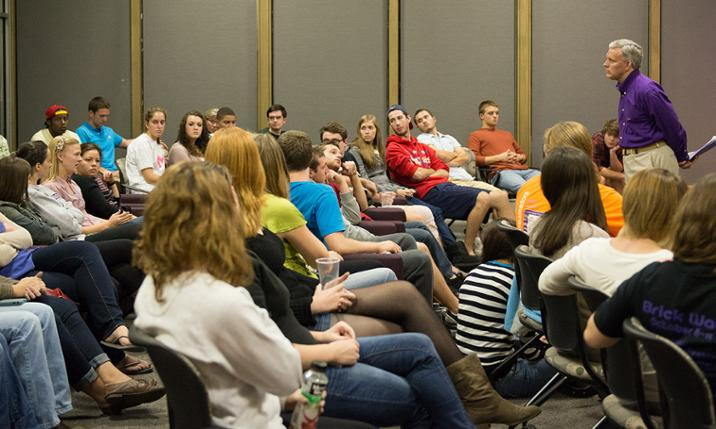 President Jon Alger hears from students during listening tour