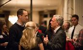 President Alger talks with alumni in Dallas