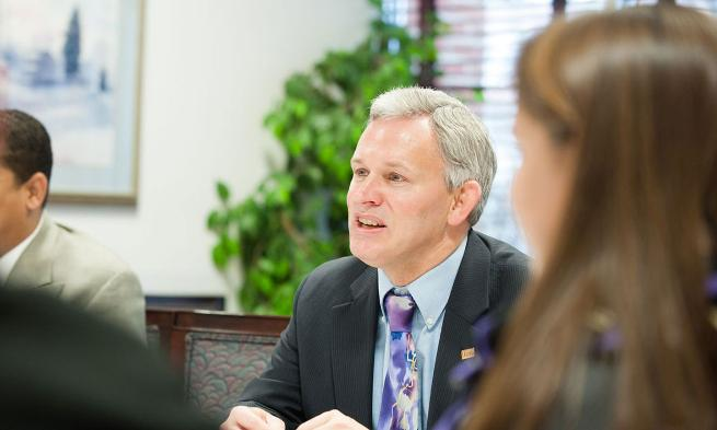 President Alger hears from students at Madison Society breakfast