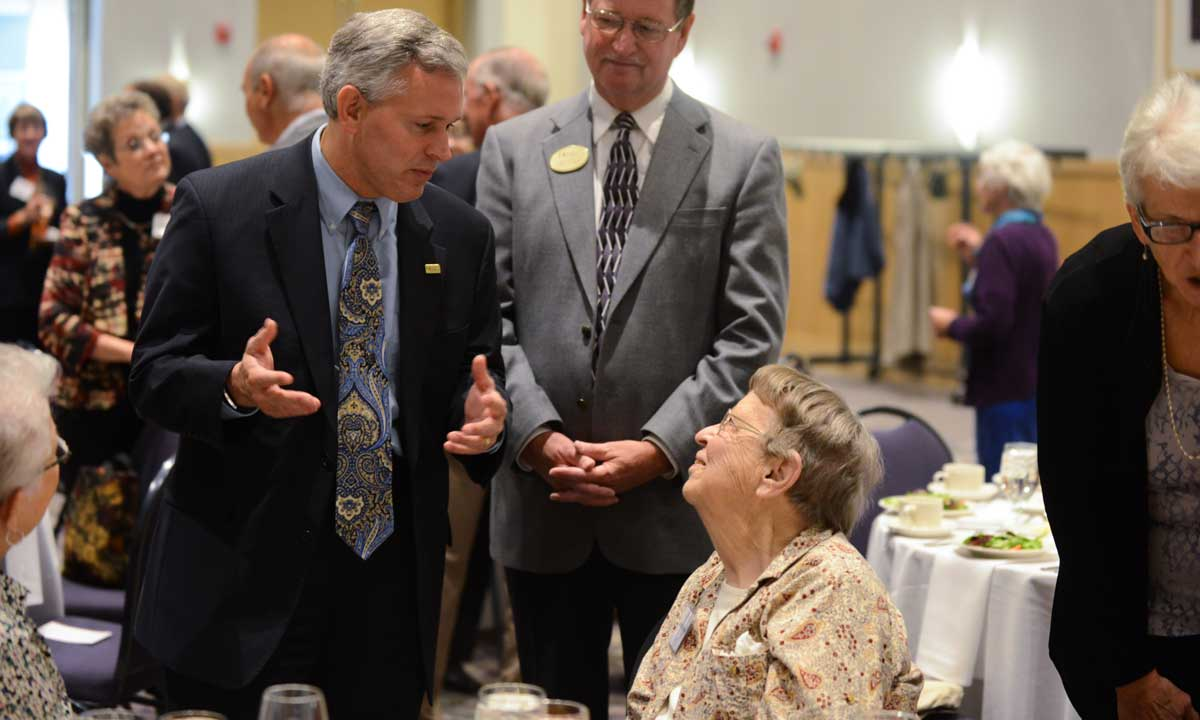 President Alger speaks to retired faculty