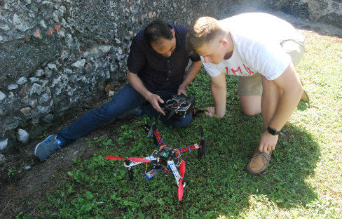 Nick Sipes works with drone