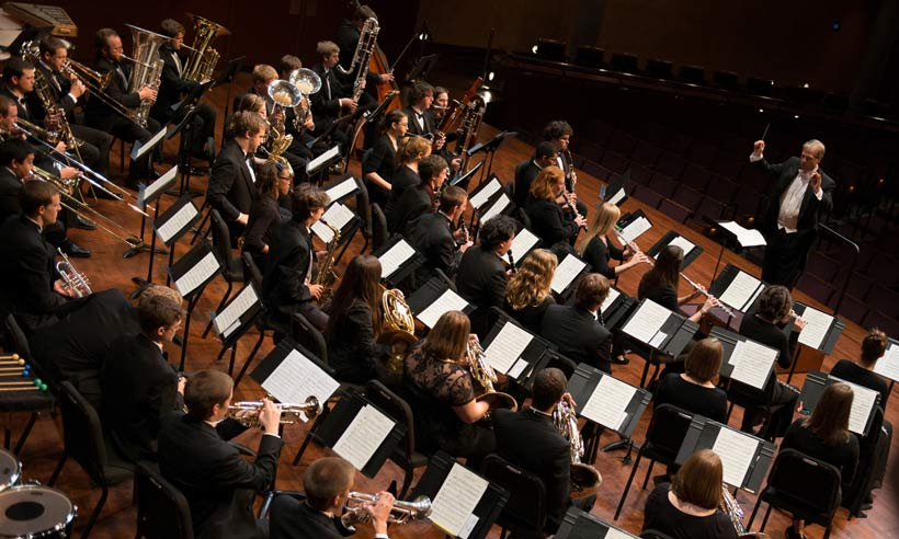 Aerial view of wind symphony concert