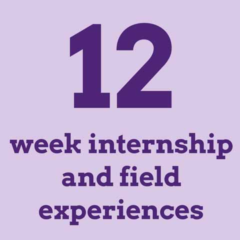 12-week internship and field experiences