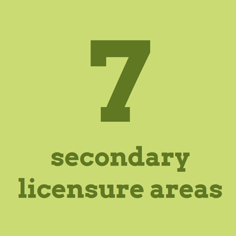7 secondary licensure areas