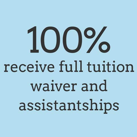 100% receive full tuition waiver and assistantships