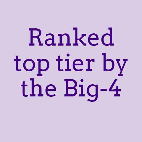 Ranked top tier by the Big-4