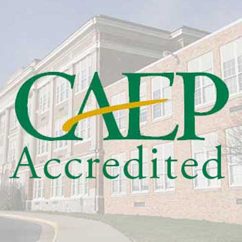 CAEP logo with JMU Memorial Hall in the background