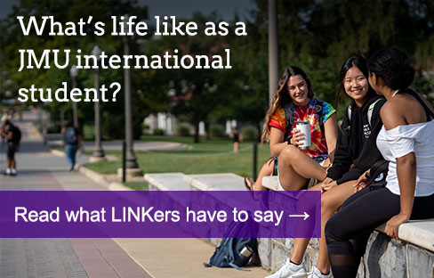 james madison university international admissions three international students walking on the quad the headline