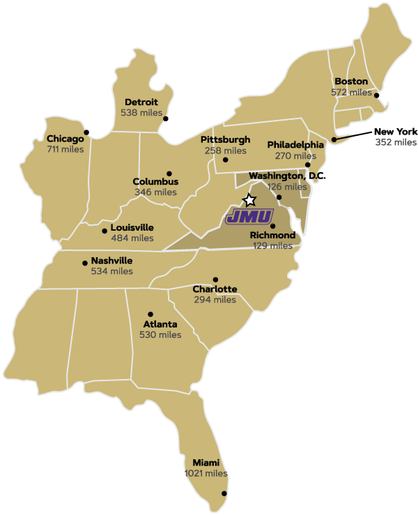 James Madison University Traveling To And From Jmu Virginia On A Us Map
