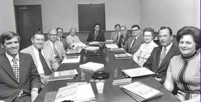 Madison College Board of Visitors and President Ronald E. Carrier (center) in the fall of 1972.