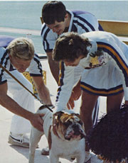 Duke IV with cheerleaders.