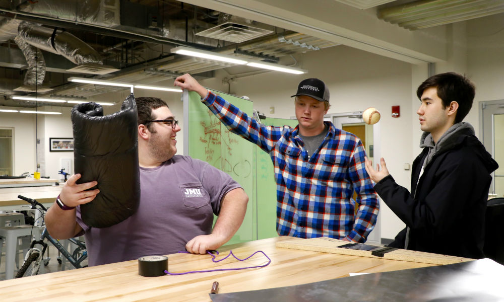 JMU engineering students collaborating at Dukes Invent Challenge 2019