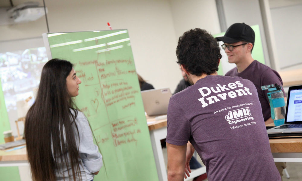 Students collaborating at Dukes Invent Challenge