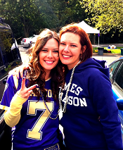 Dr. Bauer with her sister at a JMU game.