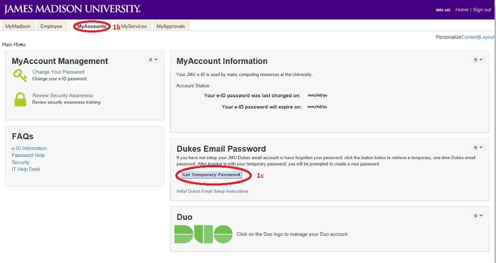 James Madison University - Dukes Email Setup