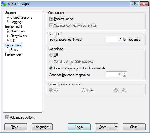 WinSCP Passive FTP