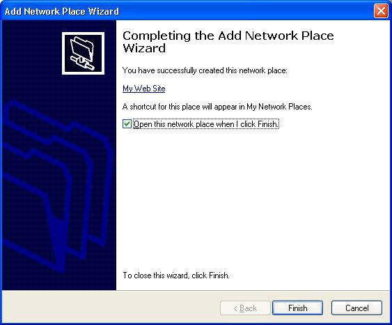 Complete Add Network Place Wizard