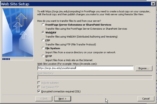 Web Site Setup Dialog Box