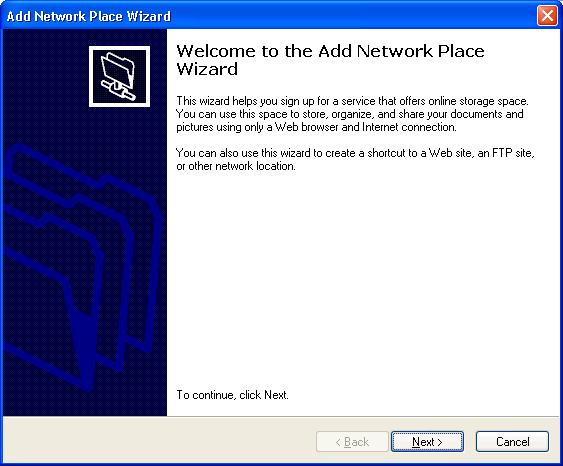 Add Network Place Wizard Welcome Screen