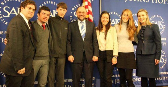 Will Lacey and Sarah Raimondo in Washington, DC with EP President Martin Schulz