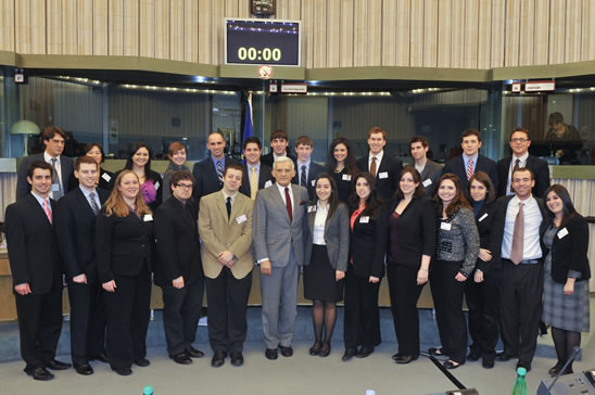 EUPS students pose with EP President Jerzy Buzek