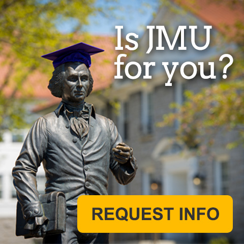 James Madison statue with graduation cap