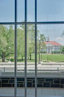 View of Wilson Hall and the Quad from the Forbes Center grand lobby