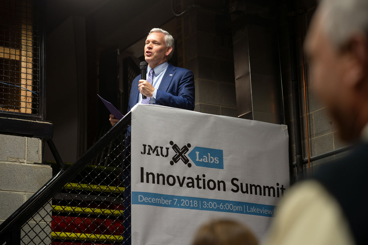 President Alger welcomes students, parents, faculty and industry partners to the Fall 2018 JMU X-Labs Innovation Summit.