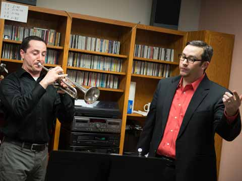 Brass professor Chris Carillo instructs a doctoral student
