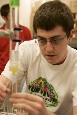 student in lab