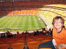 Teresa Harris sitting in soccer stadium