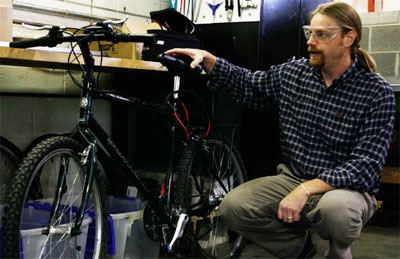 Dr. Rob Prins with electric bicycle