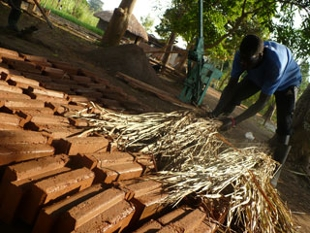 drying the newly made bricks
