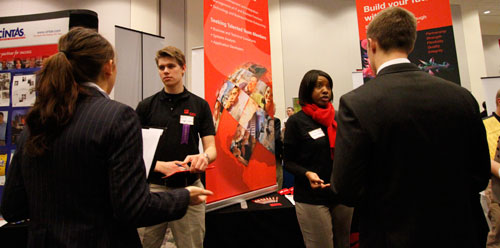 Students at career fair.
