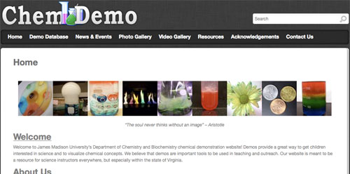 Screen shot of ChemDemo website.