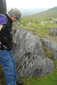 professor points to piece of marble in field