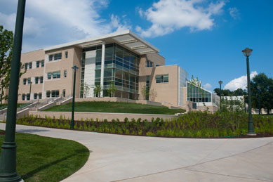 exterior of completed bioscience building
