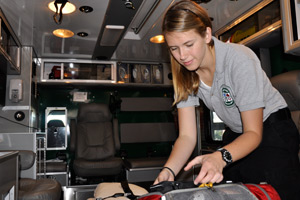 Hilary Jacobson at work in ambulance