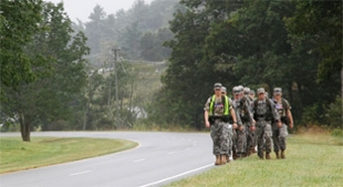 JMU ROTC cadets marching near Staunton