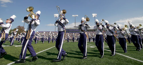 Marching Royal Dukes perform at Bridgeforth Stadium