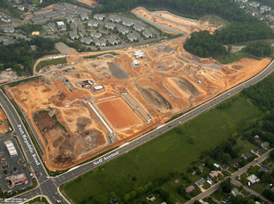aerial view of field construction, May 2011.